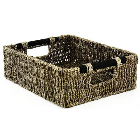 Rectangle A4 Seagrass Wicker Storage Basket Wooden Handles